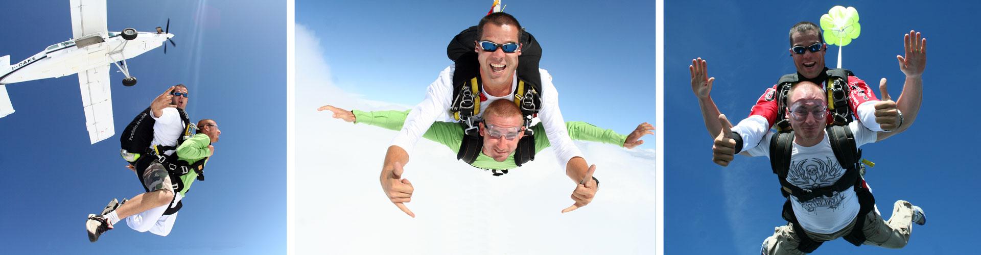 Saut en tandem, saut en parachute
