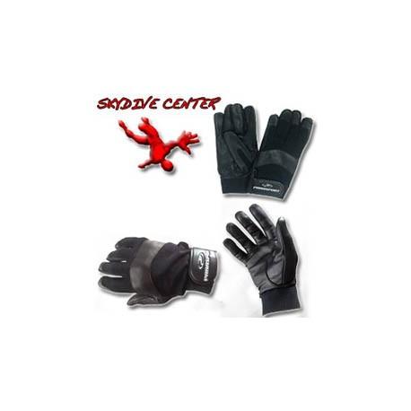 Gants de parachutisme en cuir noir et tissus stretch