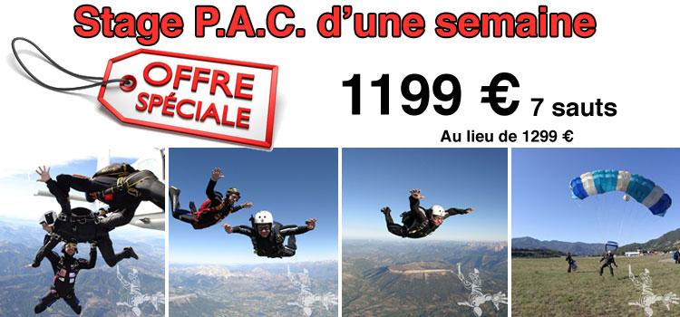 Stage PAC parachutisme d'une semaine en promotion